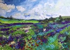 Lavender Fields  - original abstract landscape painting modern contemporary art