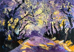 Lilac Valley - original abstract landscape painting contemporary 21st Century