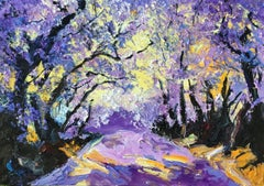 Lilac Valley original abstract landscape painting