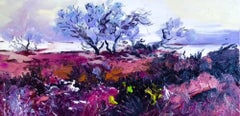 Magenta Field - landscape colourful countryside painting modern contemporary
