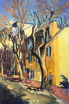 Menton - original abstract cityscape oil painting modern contemporary art