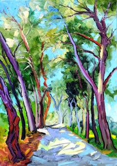 Midday Shadows II-original landscape colourful countryside painting contemporary