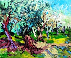 Old Olive Trees - landscape painting fauvist modern contemporary abstraction