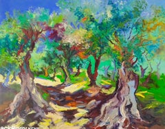 Olive-trees - landscape nature forest impasto painting modern contemporary art