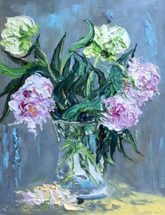 Peonies - original abstract floral painting modern contemporary art 21st C