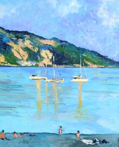 People Watching by the Sea - landscape harbour figures painting contemporary