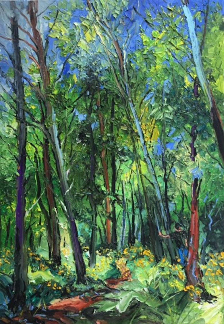 Pine Trees and Broom - original abstract oil forest painting contemporary art