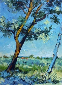 Provence - original landscape European oil painting forest tree contemporary