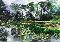 Reflections - original landscape lake nature oil painting contemporary modern