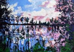 Sailing upon Sunset - Original landscape impasto oil painting Contemporary