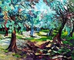 Spring Shadows - countryside landscape green blue artwork abstract contemporary