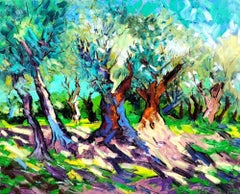 Spring Shadows - landscape painting modern contemporary 21st forest nature