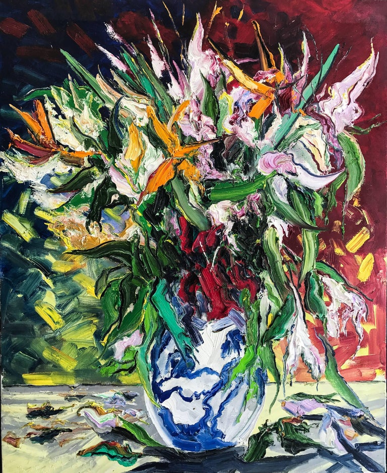 Denis Ribas  Abstract Painting - Still Life with Chinese Vase original oil painting CONTEMPORARY Art 21st century