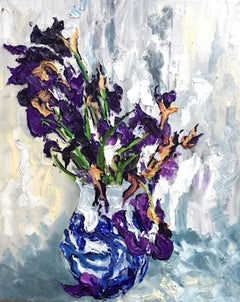 Still Life With Iris I - floral abstract oil painting modern contemporary art
