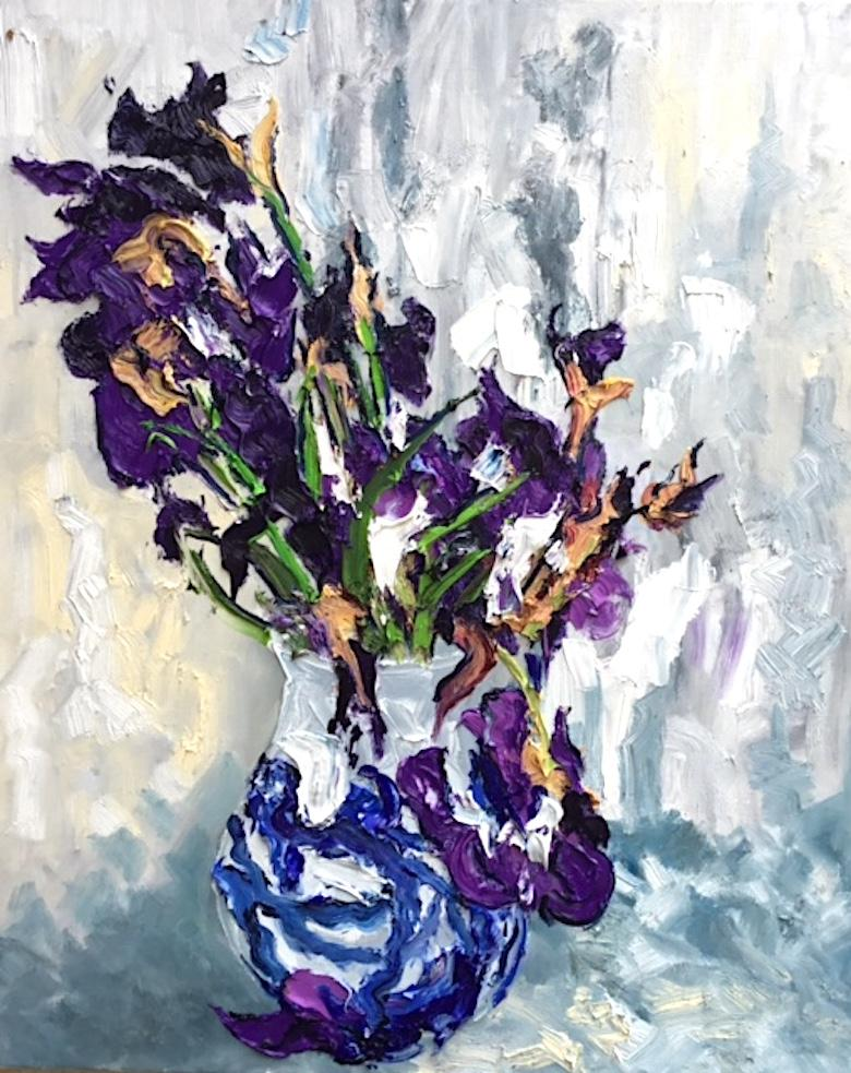 Still Life With Iris I - floral colourful oil painting modern contemporary art