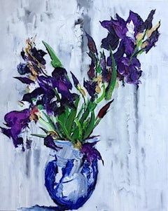 Still Life With Iris II - original abstract oil painting modern contemporary art