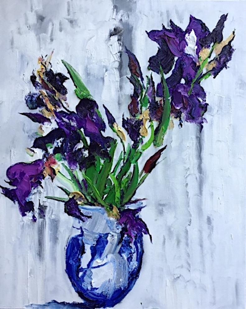 Still Life With Iris II - original abstract painting contemporary still life