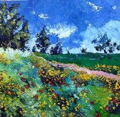 Summer Field - landscape floral seasonal oil painting modern contemporary art