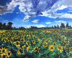 Sunflower Field - original floral landscape impasto artwork contemporary