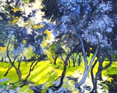 The forest of young Olive trees - landscape vibrant impasto artwork contemporary