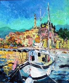 The Marina's Beauty - original landscape ocean sea beach oil artwork modern