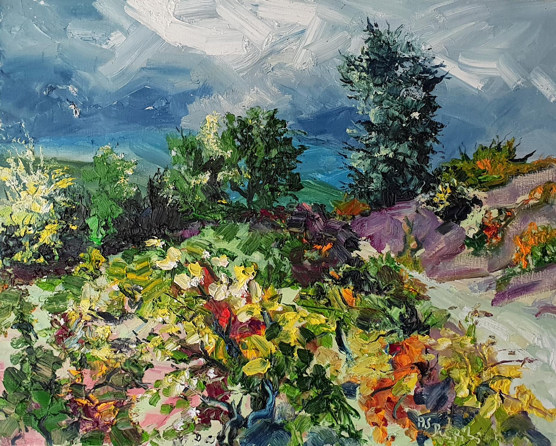 Vines - original abstract floral landscape painting summer holiday Contemporary