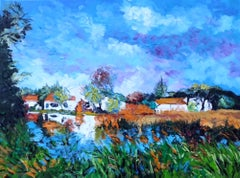 Waterside Houses - cityscape landscape painting contemporary Modern abstract