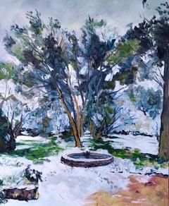 Winter Park - original landscape seasonal painting contemporary art modern