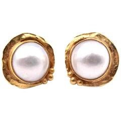 Denis Roberge 22 Karat Yellow Mabe Pearl Vintage Earring