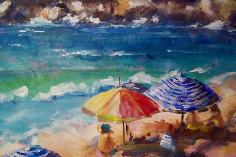 Brolly Day - Late 20th Century Impressionist Oil Landscape by Denise Allen For Sale 2