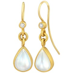 Denise Betesh Blue Moonstone Pear White Diamond Dangle Drop Earrings