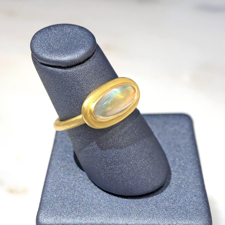Artisan Denise Betesh Entrancing Oval Rainbow Moonstone One of a Kind Ring For Sale