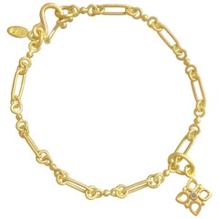 Denise Betesh White Diamond Cottonwood Single Ball Chain Link Bracelet