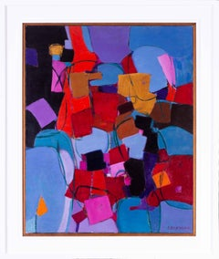 French 20th Century abstract with blocks of reds, blues and purples