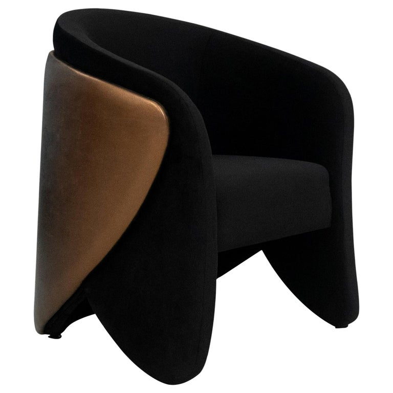 Denise Chair in Smooth Velvet and Metal Bronze Leather For Sale