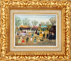 French naive cityscape painting - Genre Figurative - Female Artist - L. S. Lowry