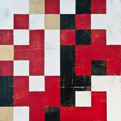 """""""Cipher Six (Sense)"""", abstract, acrylic, painting, geometric, red, black, white"""