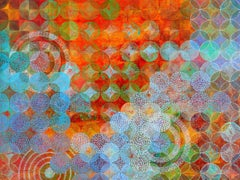 """""""Circles 22"""", Denise Driscoll, abstract, acrylic painting, orange, blue, teal"""