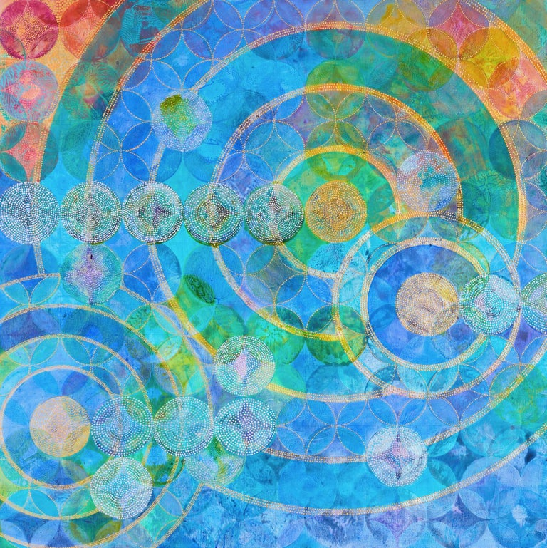 Circles 30 (Elemental) - Gray Abstract Painting by Denise Driscoll