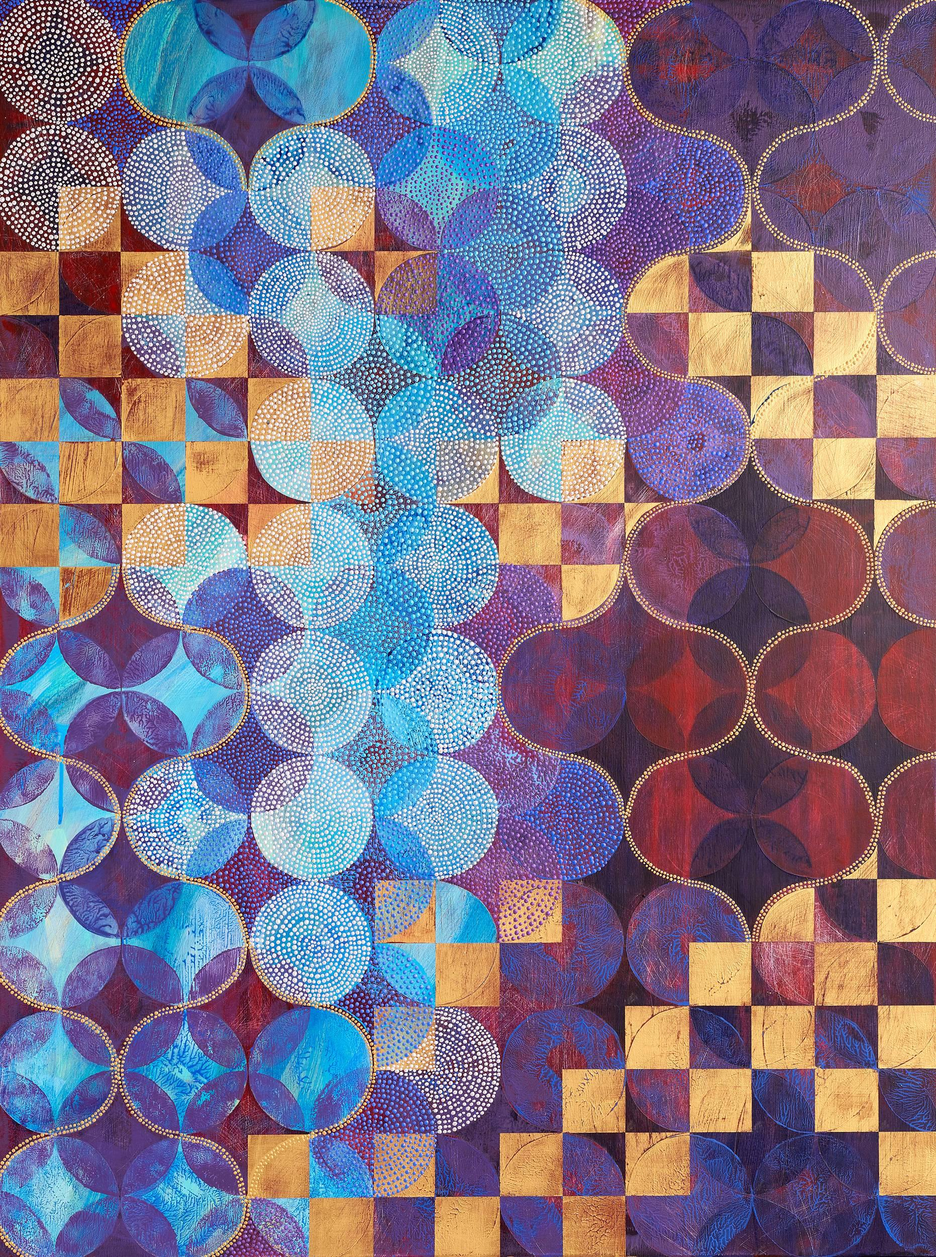 """""""Circles 37"""", abstract, acrylic painting, geometric, purple, gold, teal, white"""