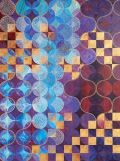 """Circles 37"", abstract, acrylic painting, geometric, purple, gold, teal, white"