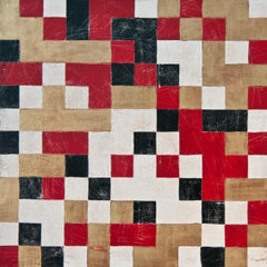 """""""Encoded 3"""", abstract, acrylic painting, geometric, red, black, gold, white"""