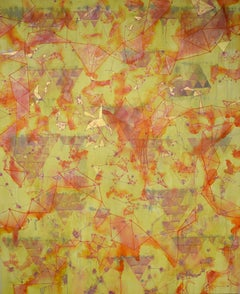 """""""Glimmer"""", abstract, acrylic painting, triangles, yellow, orange, magenta, gold"""
