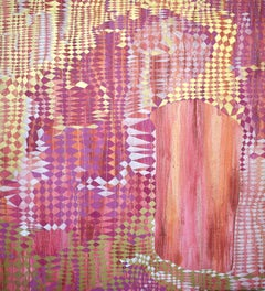 """Glimpse"", abstract, acrylic painting, whimsical, pink, magenta, orange, gold"