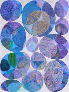 """""""Inner Garden 18"""", abstract, acrylic painting, ovals, purple, blue, teal, gold"""