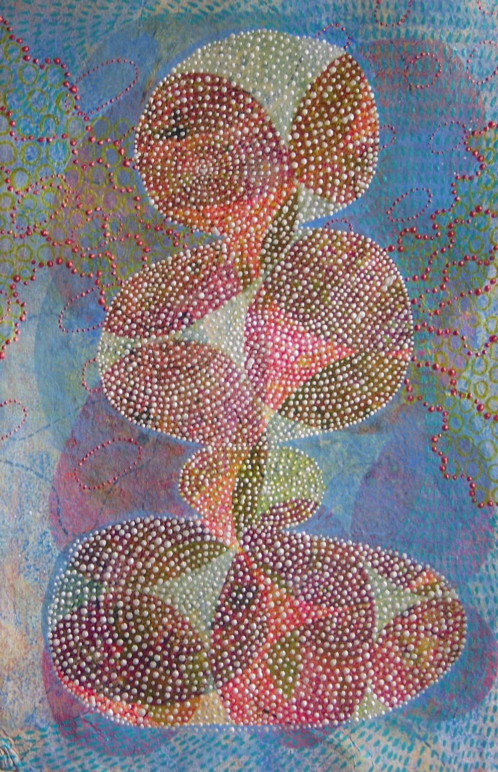"""""""Inner Garden 26"""", abstract, acrylic painting, blues, reds, white, dots"""
