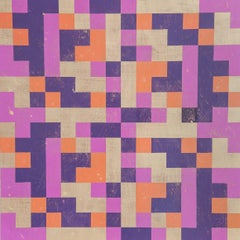 """Inversion"", abstract, acrylic painting, squares, magenta, gold, orange, purple"