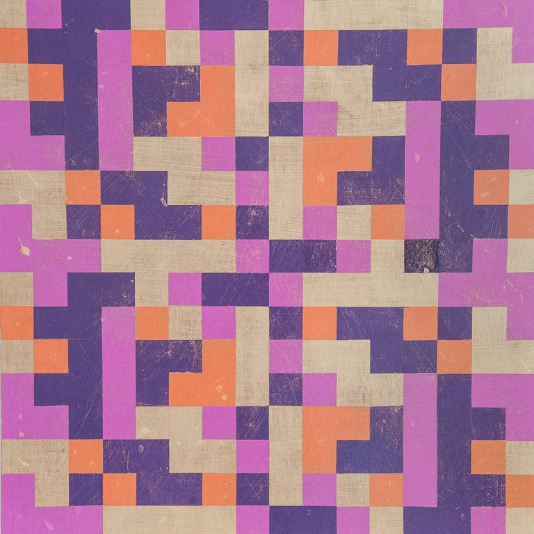 """""""Inversion"""", Denise Driscoll, abstract, acrylic painting, squares, magenta, gold - Painting by Denise Driscoll"""