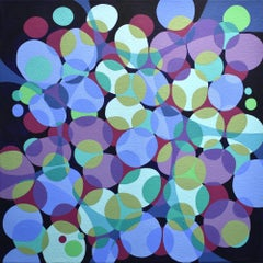 """Kinship 7"", acrylic painting, abstract, webs, bubbles, ovals, blue, green"