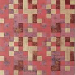 """""""Replication 1"""", Denise Driscoll, abstract, acrylic, geometric, squares, red"""
